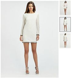 Nicole Miller White Lace Dress  $377  Geometrically crocheted lace in a chic, minimal style, edged in delicate contrast trim.