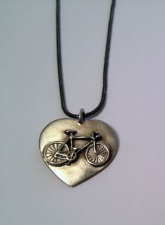 Bicycle Jewelry - Bike in Heart pendent