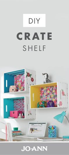 These DIY Crate Shelves take crafty to a whole new level! With a pop of colored paint and patterned fabric, these wall organizers are decorative as well as practical. The unique storage makes this upcycled project ideal for your daughter's bedroom or your home office! #kidsroomideasunique