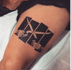 black flag everything went black thigh tattoo by andy revenant