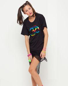 Motel Oversize Black T Shirt with Foil Ohm Print