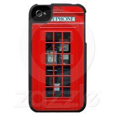 Capa de iphone 4 engraçado da cabine de telefone de Zazzle.com.br