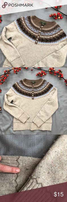 """Eddie Bauer fair isle sweater Button down front. Brown and beige Bobbles or Poms as accent on the collar design.  Embroidered stitching on the cuffs and hem line.  A slight pull on fabric towards the bottom.  See pic. Bust is 18"""" ✂️ length 23"""" Eddie Bauer Sweaters Crew & Scoop Necks"""