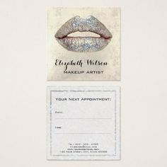 #makeupartist #businesscards - #glam faux silver glitter lips makeup artist square business card