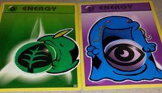Custom-Painted Gulpin and Shiny Swalot Pokemon Energy Cards