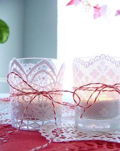 Lace votive DIY