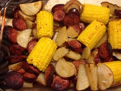 Sausage, corn, and potato Hobo meal. Mmmnomnomnom! Ring sausage (I used chicken/turkey) cut into 1 inch slices. 3-4 lg russet potatoes sliced into bite sized pieces. 4-6 sml corn on cob ears. 1/3 cup of water. 1tsp butter. 1 tblsp olive oil. 1 tsp salt. 1 tsp pepper. 1 tblsp butter. I also add a little Lowrys seasoning to taste. Preheat oven to 400. Place all ingredients in a lg baking dish ( I use my glass cake pan) and cover with tin foil. After about 15-20 minutes remove from oven (caution hot steam) and stir ingredients. Place back in oven for another 30 minutes or until potatoes cooked thoroughly. I usually remove tin foil for the lat 10-15 minutes to brown.