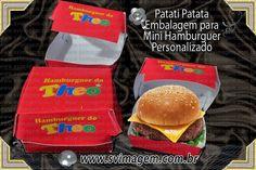 embalagem para mini hamburguer personalizada