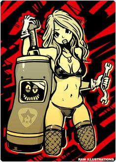 garage girl by KENTOO-JPN on DeviantArt Dark Fantasy Art, Fantasy Artwork, Character Art, Character Design, Comic Art Girls, Ange Demon, Doja Cat, Chica Anime Manga, Sexy Cartoons