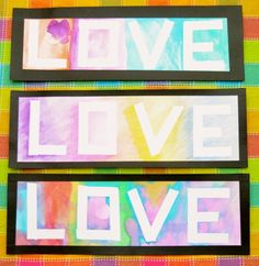 Preschool Valentine's Day Art Activities: Masking Tape Relief Watercolor Word Painting.