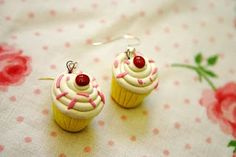 polymer clay cupcake earrings I made for Raven