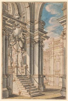 School of Bibiena Family (18th Century) - An Archway Leading into a Courtyard, 1770