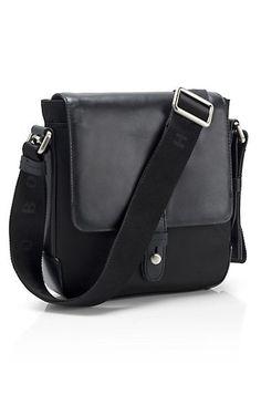 Shoulder Strap Leather 'Titar' Bag, Black