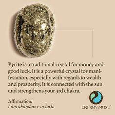 Pyrite Stone - Good Luck | Abundance | Manifestation A Pyrite Stone helps to remedy financial hardship by attracting abundance. Pyrite stones also make a powerful energy shield, helping to prevent all negative energy from permeating your body.