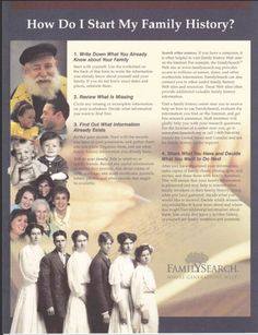 This handout explains the importance of starting family research with what the genealogist already knows.