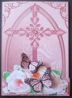 Fancy Cross Pastel Roses Butterfly Pyramid Decoupage on Craftsuprint designed by Carol Clarke - made by Davina Rundle - I printed on to matte photo paper. Mounted the topper on to a card and layered. Added gems to embellish. A very pretty design for Easter or any religious occasion. - Now available for download!
