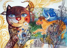 Taurus cat*zodiac Art Print by Oxana Zaika 3 Canvas Art, Canvas Art Projects, Galerie D'art Photo, La Art Galleries, Art Zodiaque, Fine Art Amerika, Sun In Taurus, Photo Art Gallery, Mandala