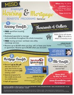 House & Mortgage Benefits Flyer for Home Buyer Seminar on Behance