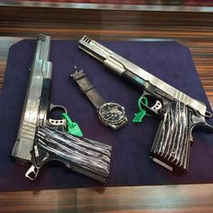 These babies with twisted steel Damascus uppers which constitute a mirror image set of left and right-handed 1911's were also on display at #nra2016. The pistols have coordinated serial numbers and certainly are Cabot OAK grade collection worthy. The grips are 12000 year old Mastodon tooth. These custom guns have 6 inch barrels and compensators. The best part is their owner is going to carry them. SOLD. #cabotguns #1911 #guns #gunsofinstagram #gunsdaily #firearms #handgun #gunart…