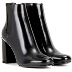 Saint Laurent Babies 90 Leather Ankle Boots (20 165 UAH) ❤ liked on Polyvore featuring shoes, boots, ankle booties, black, black ankle bootie, leather booties, black boots, short black boots and black booties
