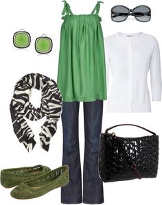 Casual Outfits 2012 | green, black, & white | Fashionista Trends