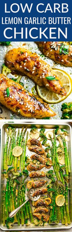 Sheet Pan Lemon Garlic Butter Chicken – the perfect easy meal for busy weeknights. Best of all, made with tender and juicy chicken, asparagus and broccoli coated in a flavor packed buttery sauce. Low Carb, Keto-friendly and comes together in about 30 minu Honey Lemon Chicken, Garlic Butter Chicken, Chicken Asparagus, Chicken Curry, Low Carb Recipes, Cooking Recipes, Healthy Recipes, Whole30 Recipes, Protein Recipes