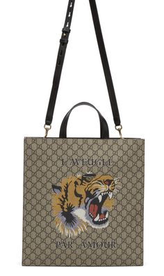 Gucci Multicolor GG Supreme 'L'Aveugle Par Amour' Tote  from SSENSE (men, style, fashion, clothing, shopping, recommendations, stylish, menswear, male, streetstyle, inspo, outfit, fall, winter, spring, summer, personal)