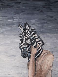 Zebra. Selfportrait with mask. More information on www.dickykapel.nl or dfakapel@hotmail.com