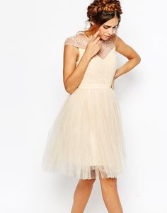 Image 1 of Little Mistress Ruched Bodice Skater Dress With Pleated Tulle Skirt