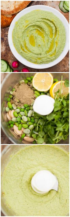 Lemony Edamame and Butter Bean Hummus-liven up your hummus with some fresh and vibrant colours(How To Make Butter In A Kitchenaid) Healthy Recipes, Healthy Snacks, Vegetarian Recipes, Healthy Eating, Appetizer Recipes, Snack Recipes, Cooking Recipes, Appetizers, I Love Food