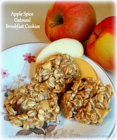 apple spice oatmeal breakfast cookies ~ no dairy, no eggs, no flour & uses just a touch of honey!