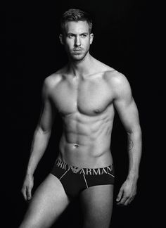 Calvin Harris Poses in Nothing But Armani Briefs, Looks Stupid Hot?See His Incredible Abs!