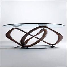 porada infinity round glass coffee table, walnut or ash