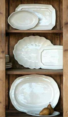 Creamware Platter Collection is Back! After several email requests, I've restocked the Creamware Platter Set of 6 ! The restock is espec. Fresh Farmhouse, Farmhouse Decor, Vintage Farmhouse, Décor Antique, Antique Iron, Charleston Homes, White Dishes, Kitchens
