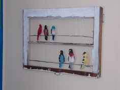 super cute for a farmhouse feel with a nature touch. Hand painted window pane birds on a wire.