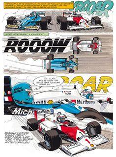 Michel Vaillant Car Illustration, Graphic Design Illustration, Joe Bar, Comic Sound Effects, F1 Posters, Comic Art, Comic Books, Course Automobile, Tech Art