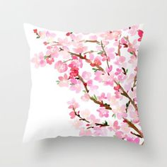 decorative pillow cover- home decor- photo pillow- nature photo- pink flowers- white-spring-feminine decor-pretty pillow Cute Pillows, Diy Pillows, Decorative Pillows, Throw Pillows, Hand Painted Dress, Painted Clothes, Cushion Embroidery, Feminine Decor, Fabric Paint Designs