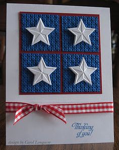 handmade Fourth of July card ... red, white and blue ... four square of blue textured squares with red backing showing at the separations ... white cut and embossed stars on top ... red gingham ribbon ... lovely card!