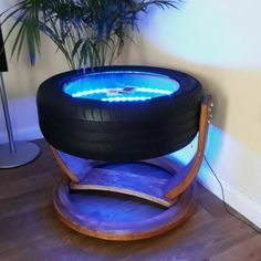 Zocker zimmer Upcycled Rotating Tyre Coffee Table With Wifi LED Lights & Remote Control Tire Furniture, Car Part Furniture, Recycled Furniture, Glass Side Tables, Glass Table, Tire Table, Tire Seats, Tire Craft, Reuse Old Tires