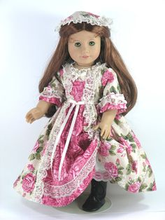18 inch American Girl Doll Clothes -  Felicity Dress, Pantalettes, Pinner Cap - Roses