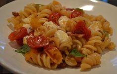 Fusilli with Bacon, Shallots, Roasted Grape Tomatoes, Fresh Mozzarella and Basil