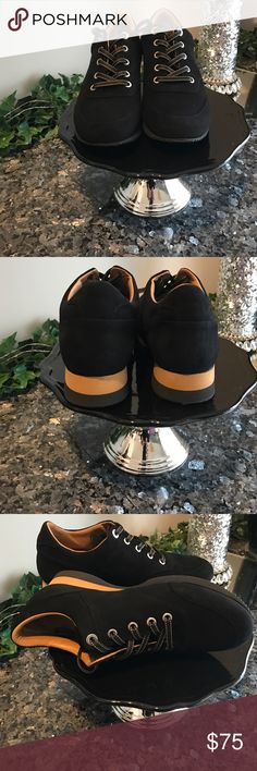 Maxmara  Black  Leather Suede Footwear Black suede leather lace up with a small wedge heel by MaxMara.  Tag attached to dust bag.    Worn twice MaxMara Shoes Sneakers