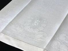 Vintage Irish Linen Damask Monogram Guest by littlebitvintage2, $12.00