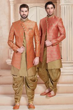 Buy Orange & Gold Zari Embroidered Brocade Indo Western Sherwani Online