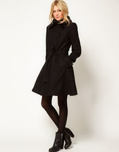 Asos Collection  Fur Trim Fit and Flare Coat in Black - Lyst