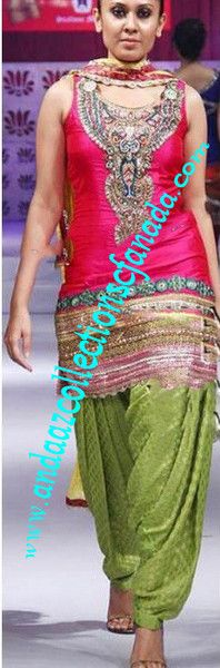 Stunning Limegreen And Pink Ramp Pure Silk Patiala Salwar Suit, buy it now at andaazcollectionscanada