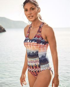 778c40550d Garnet Hill Signature Active Racerback One-Piece Swimsuit Swimwear Cover Ups