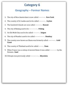 Former Geographical Names Trivia Night Round : Geography Trivia Night Round Ideas - Former Geographical Names Family Quiz Questions, General Knowledge Quiz Questions, Trivia Questions And Answers, Quizzes And Answers, Quiz With Answers, Geography Quiz, Teaching Geography, Quiz Design, Movie Facts