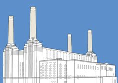 This is my homage to the Battersea Power Station in London, as immortalised by Pink Floyd in their album cover for Animals. Battersea Power Station, Art Deco Stil, Gsm Paper, Cityscapes, Pink Floyd, See Photo, Album Covers, Restaurant, London