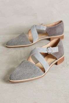 Slide View: 1: KMB Cross-Strap Denim Flats